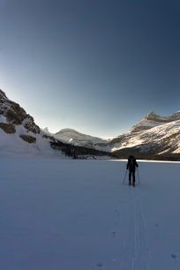 Crossing Bow lake.